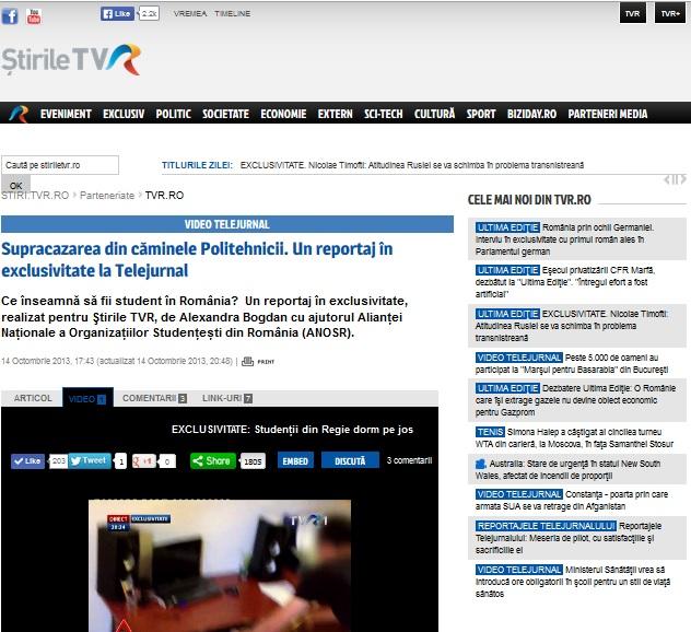 supracazarea politehnica bucuresti TVR ANOSR
