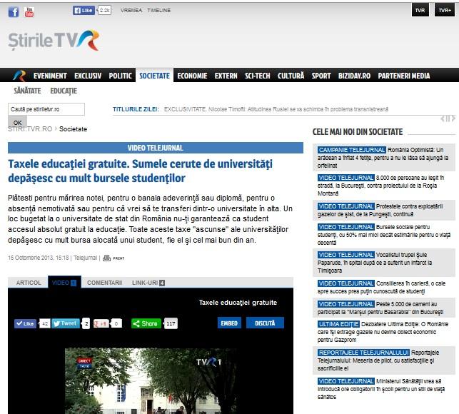 taxele educatiei gratuite TVR ANOSR